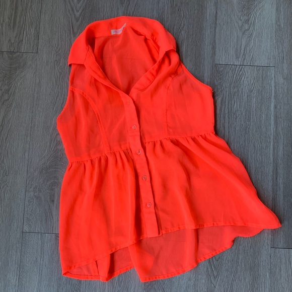Neon Coral Button up Baby Doll Top